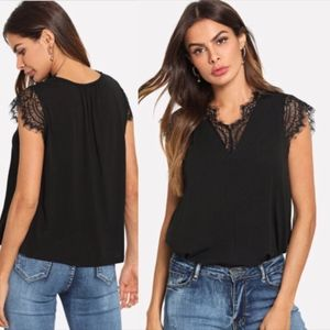 Tops - Black lace shirt with capped sleeves